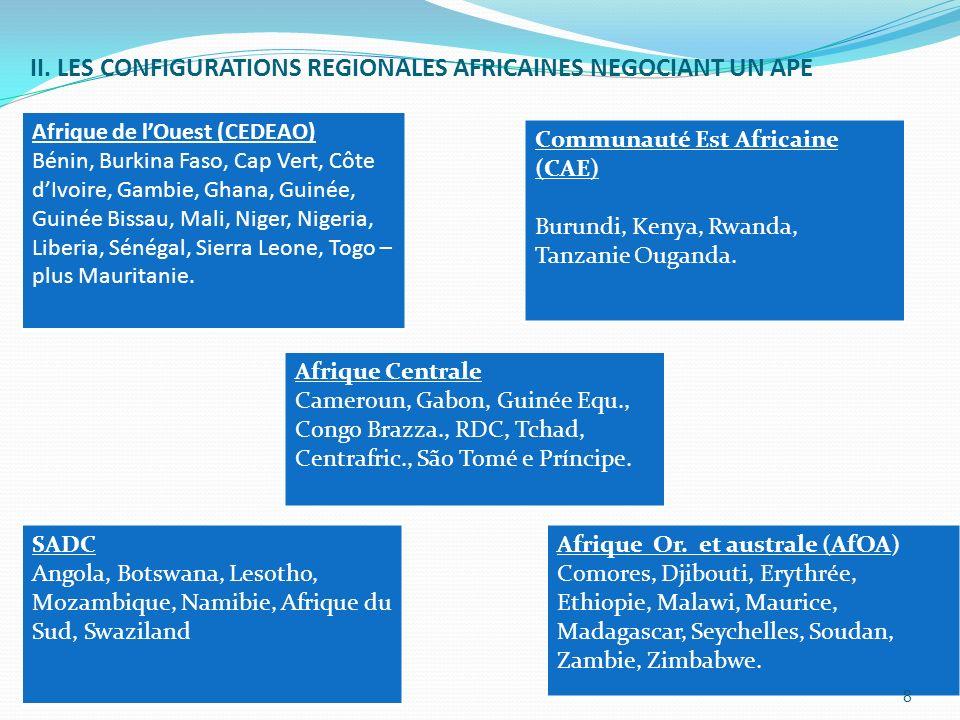 II. LES CONFIGURATIONS REGIONALES AFRICAINES NEGOCIANT UN APE