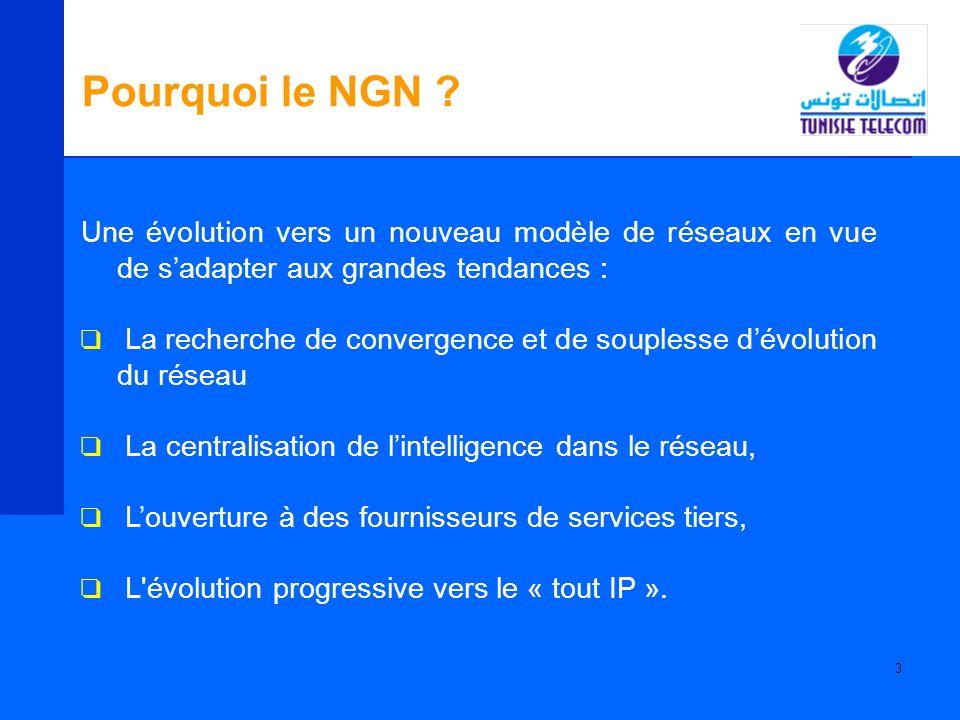 Pourquoi le NGN Une évolution vers un nouveau modèle de réseaux en vue de s'adapter aux grandes tendances :