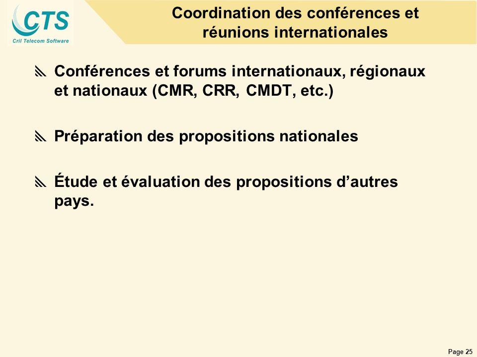Coordination des conférences et réunions internationales