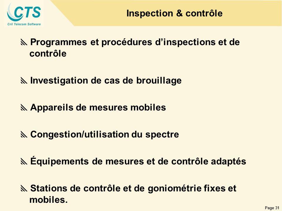 Inspection & contrôle Programmes et procédures d'inspections et de contrôle. Investigation de cas de brouillage.