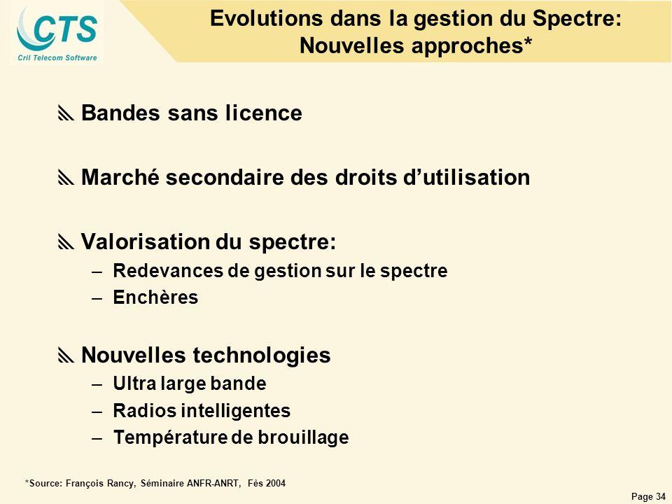 Evolutions dans la gestion du Spectre: Nouvelles approches*