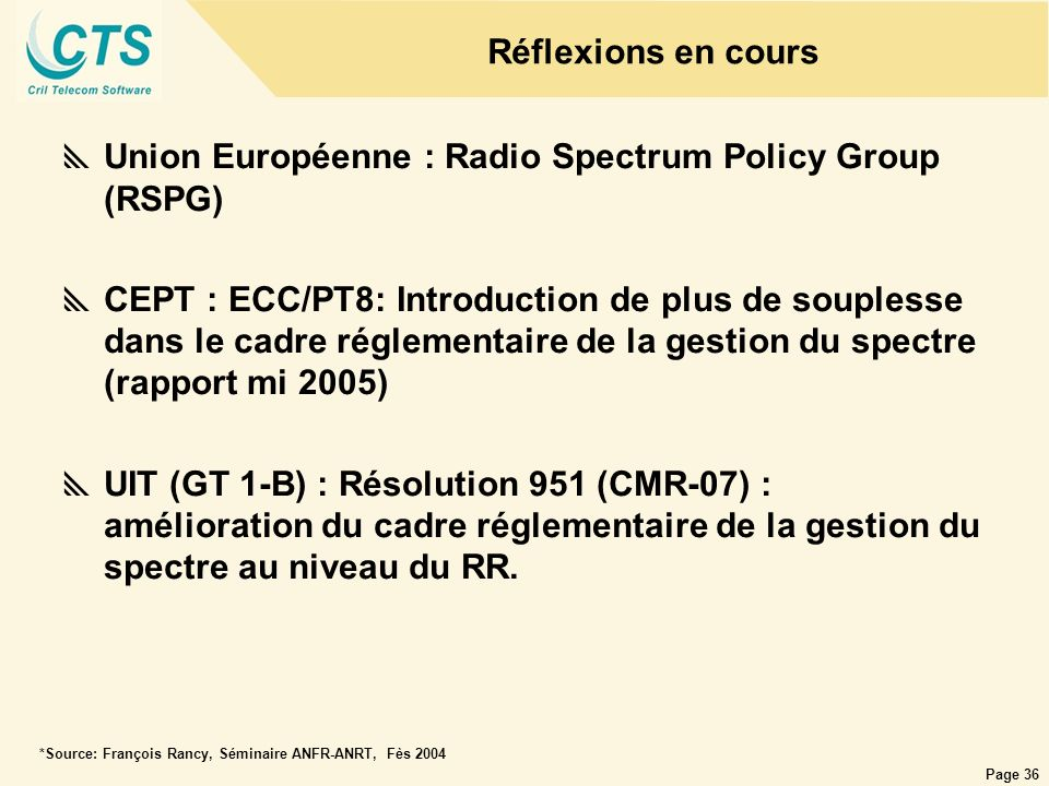 Union Européenne : Radio Spectrum Policy Group (RSPG)