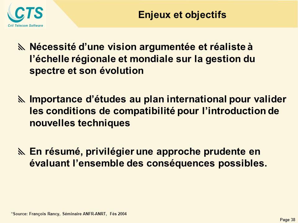 Enjeux et objectifs Nécessité d'une vision argumentée et réaliste à l'échelle régionale et mondiale sur la gestion du spectre et son évolution.