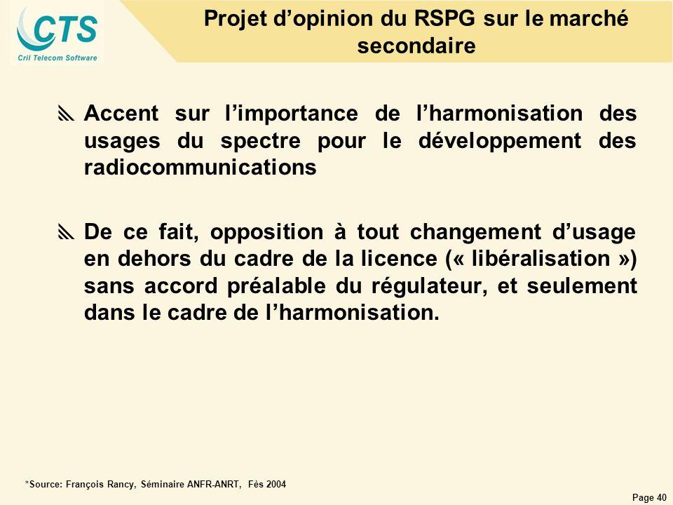 Projet d'opinion du RSPG sur le marché secondaire