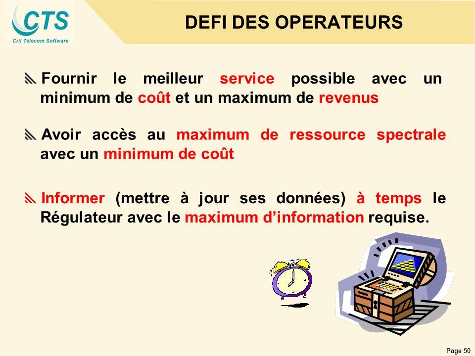 DEFI DES OPERATEURSFournir le meilleur service possible avec un minimum de coût et un maximum de revenus.