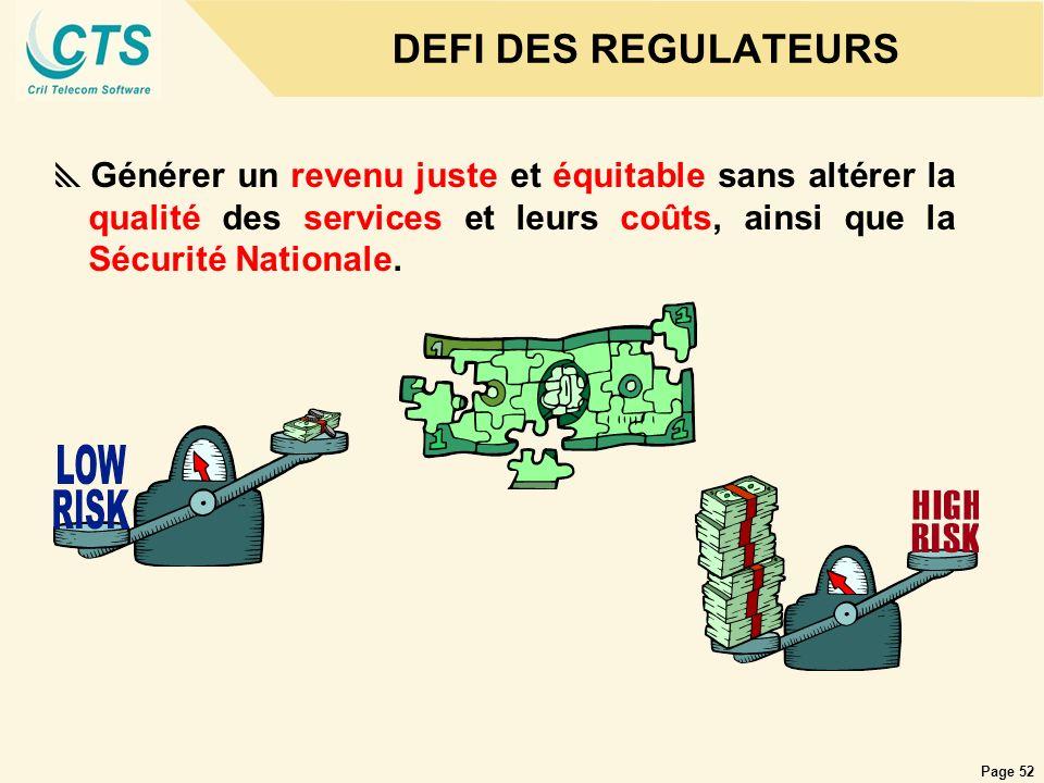 DEFI DES REGULATEURS Générer un revenu juste et équitable sans altérer la qualité des services et leurs coûts, ainsi que la Sécurité Nationale.