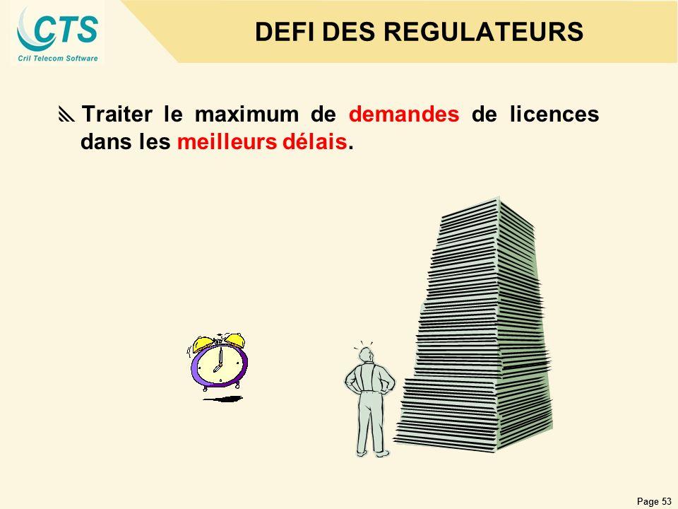 DEFI DES REGULATEURS Traiter le maximum de demandes de licences dans les meilleurs délais.