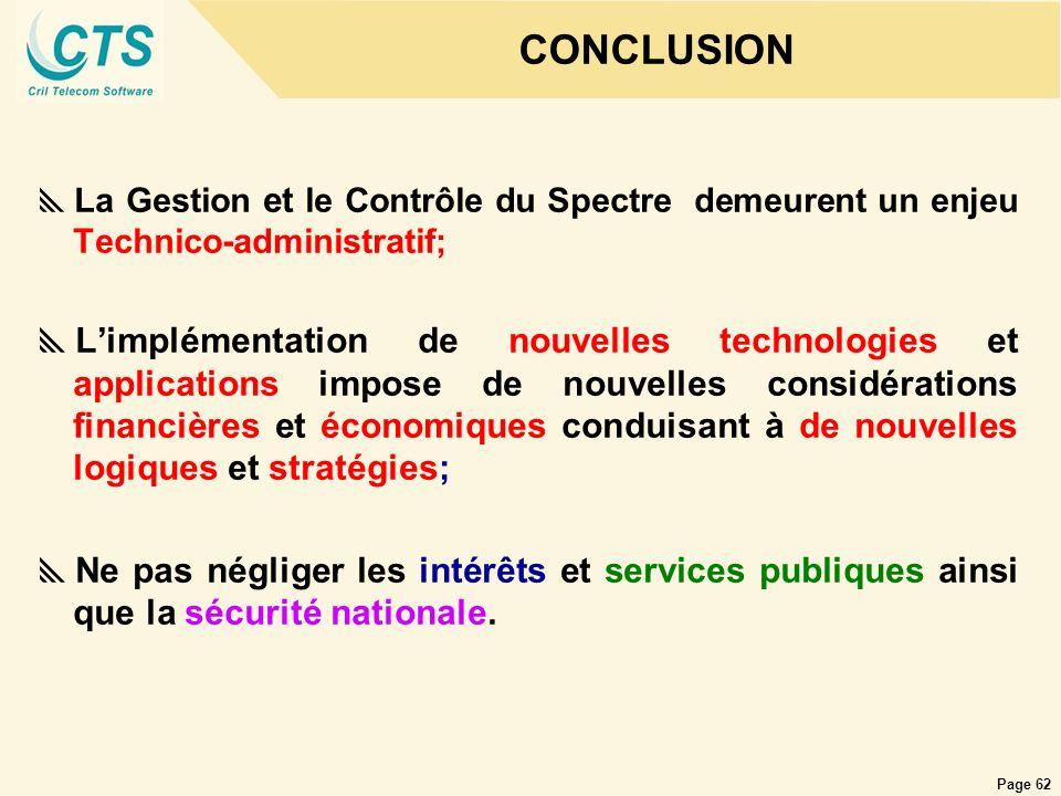 CONCLUSIONLa Gestion et le Contrôle du Spectre demeurent un enjeu Technico-administratif;