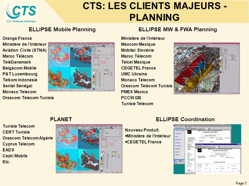 CTS: LES CLIENTS MAJEURS - PLANNING