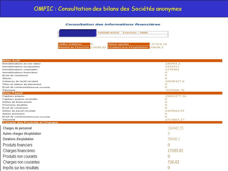OMPIC : Consultation des bilans des Sociétés anonymes