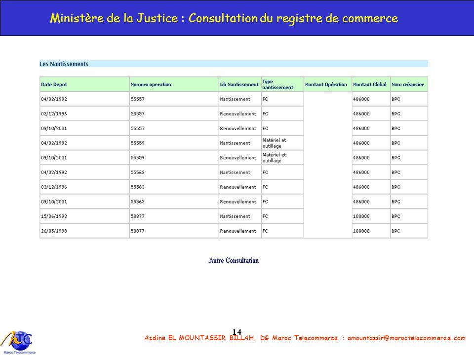Ministère de la Justice : Consultation du registre de commerce