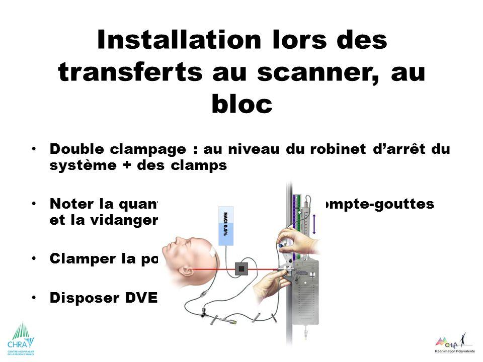 Installation lors des transferts au scanner, au bloc