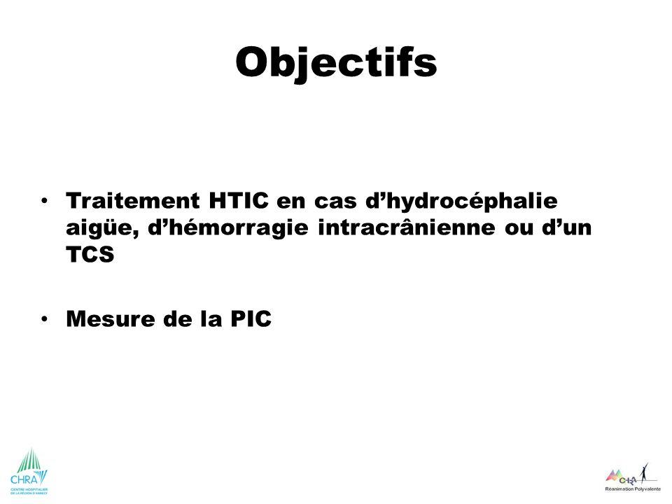 Objectifs Traitement HTIC en cas d'hydrocéphalie aigüe, d'hémorragie intracrânienne ou d'un TCS. Mesure de la PIC.