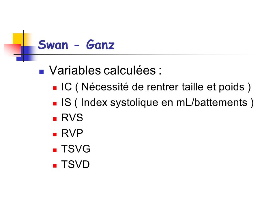 Swan - Ganz Variables calculées :