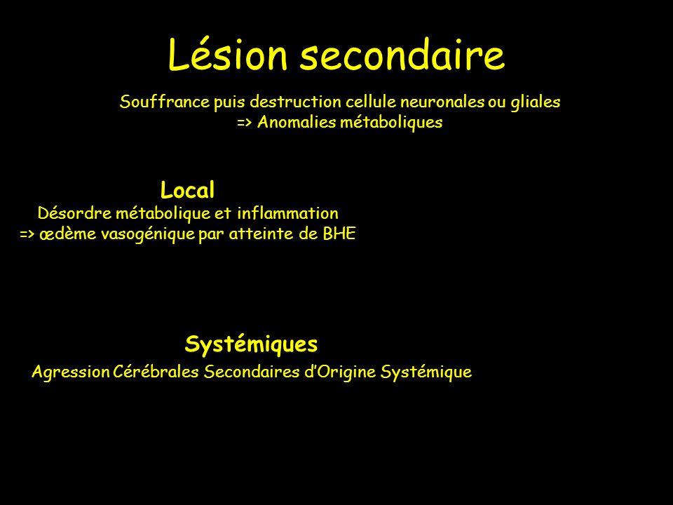 Lésion secondaire Local Systémiques