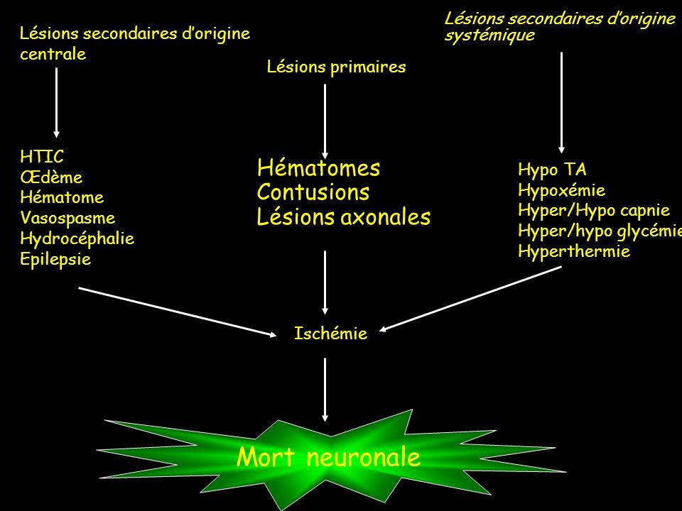Mort neuronale Hématomes Contusions Lésions axonales