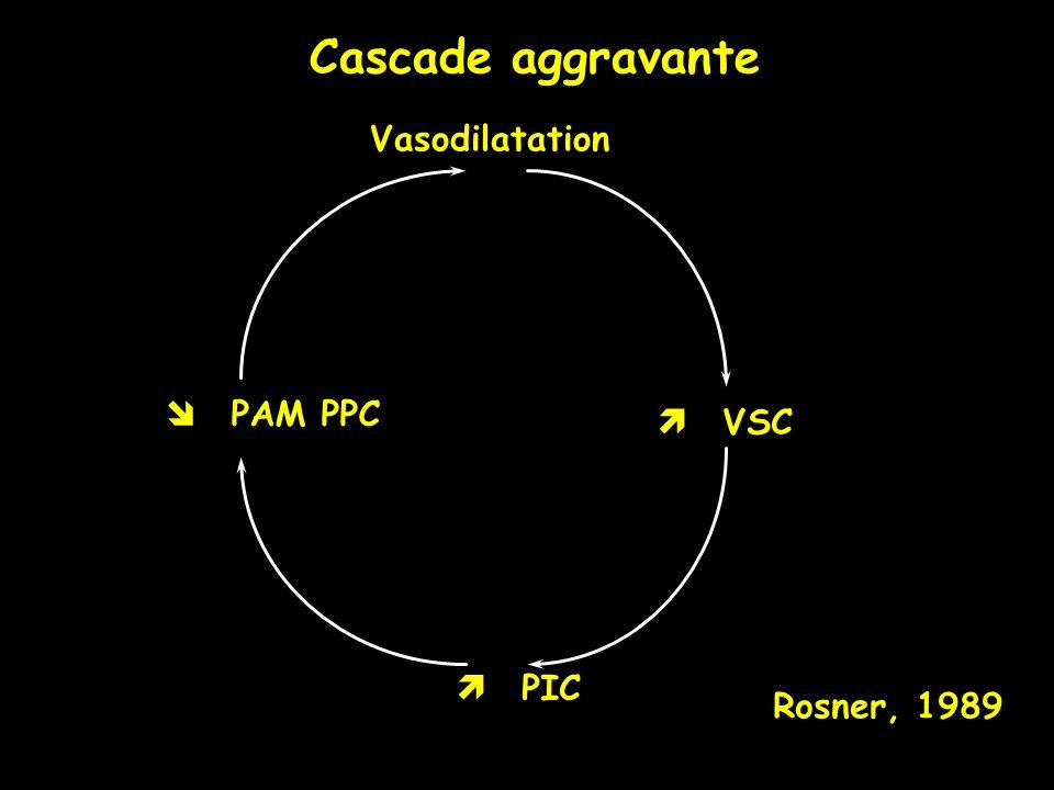 Cascade aggravante Vasodilatation  PAM PPC  VSC  PIC Rosner, 1989