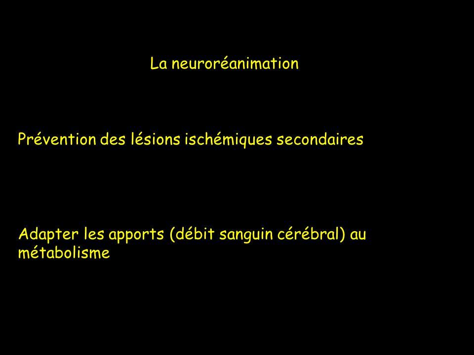 La neuroréanimation Prévention des lésions ischémiques secondaires.