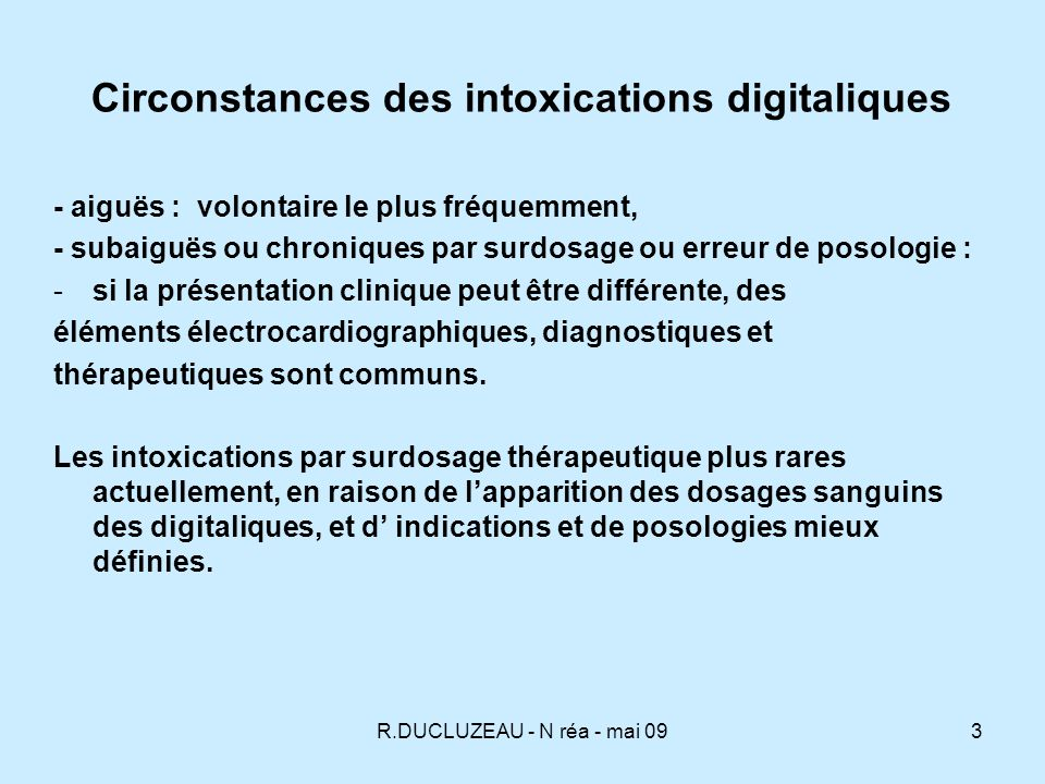 Circonstances des intoxications digitaliques