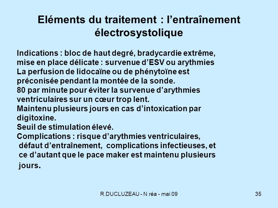 Eléments du traitement : l'entraînement électrosystolique
