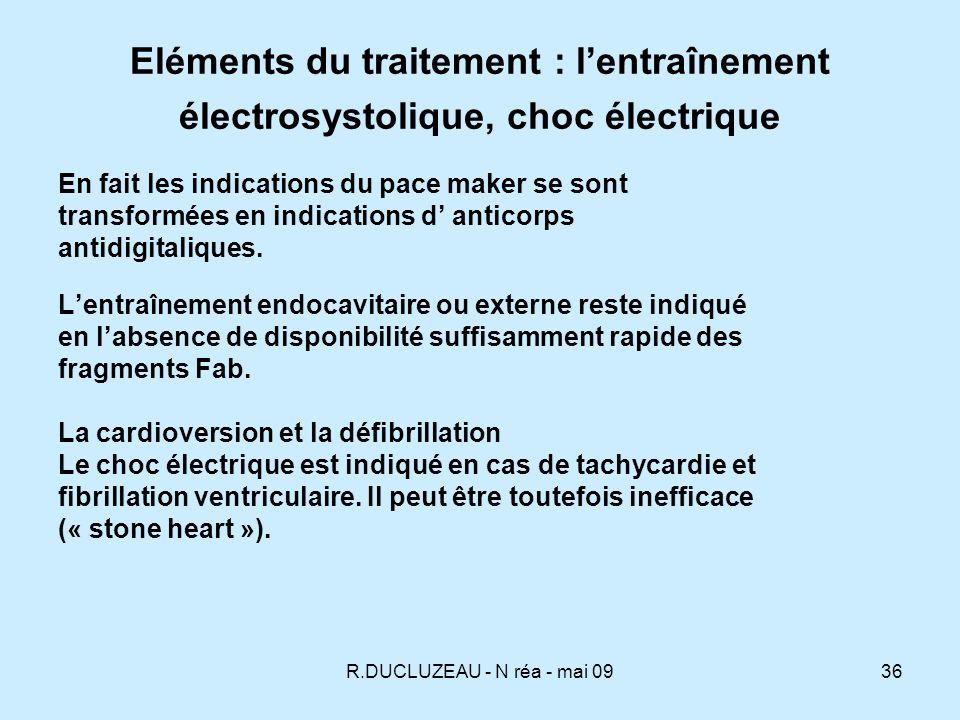 Eléments du traitement : l'entraînement électrosystolique, choc électrique