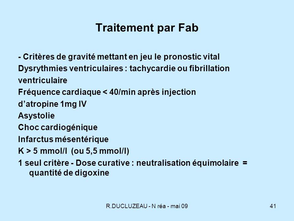 Traitement par Fab - Critères de gravité mettant en jeu le pronostic vital. Dysrythmies ventriculaires : tachycardie ou fibrillation.