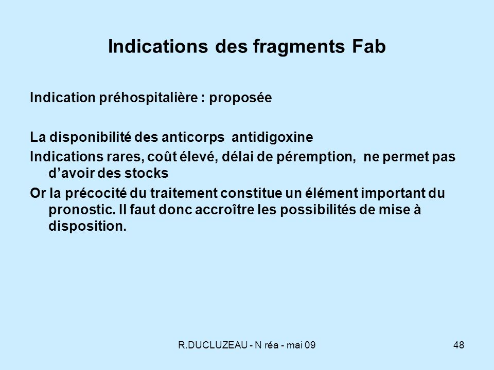 Indications des fragments Fab