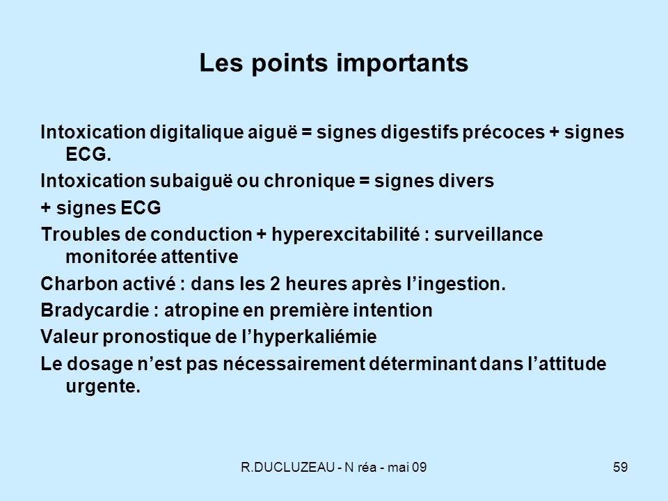 Les points importants Intoxication digitalique aiguë = signes digestifs précoces + signes ECG. Intoxication subaiguë ou chronique = signes divers.