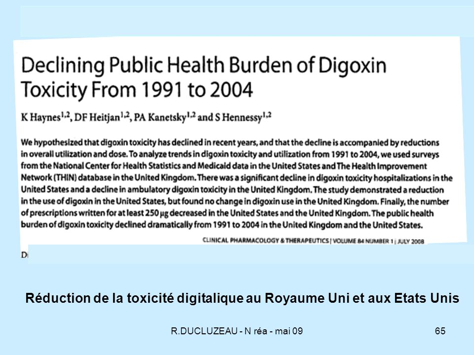 Réduction de la toxicité digitalique au Royaume Uni et aux Etats Unis