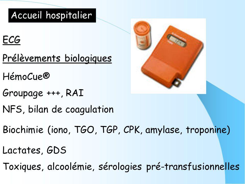 Accueil hospitalier ECG. Prélèvements biologiques. HémoCue® Groupage +++, RAI. NFS, bilan de coagulation.