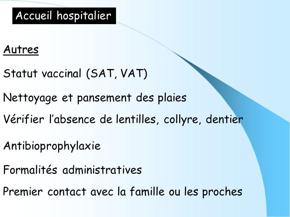 Accueil hospitalier Autres. Statut vaccinal (SAT, VAT) Nettoyage et pansement des plaies. Vérifier l'absence de lentilles, collyre, dentier.