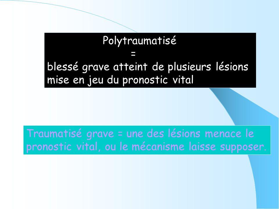 Polytraumatisé = blessé grave atteint de plusieurs lésions. mise en jeu du pronostic vital. Traumatisé grave = une des lésions menace le.