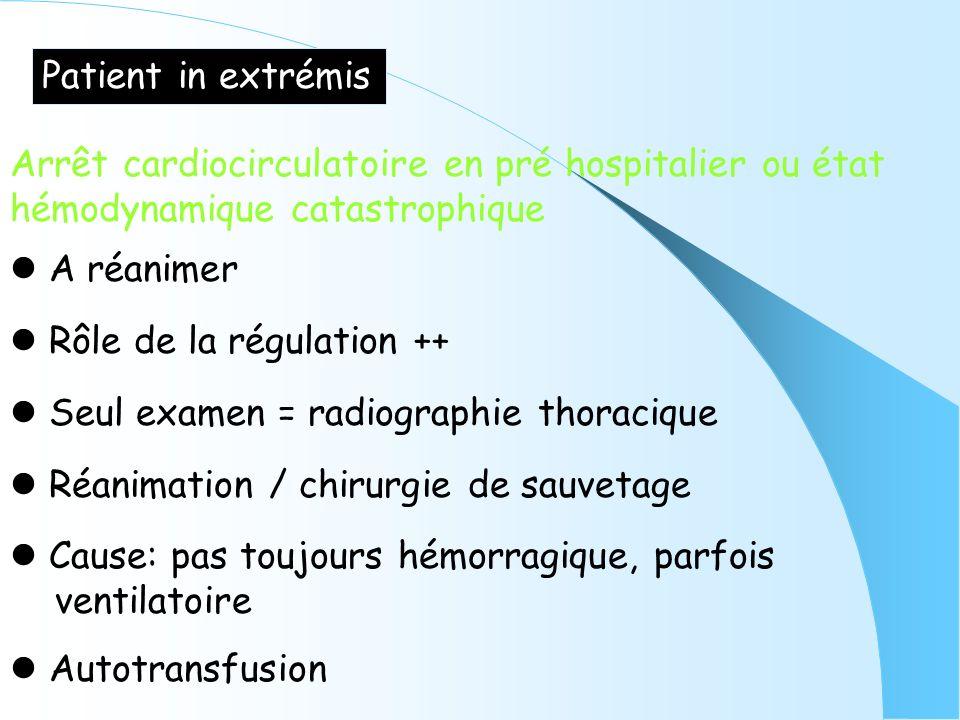 Patient in extrémis Arrêt cardiocirculatoire en pré hospitalier ou état. hémodynamique catastrophique.