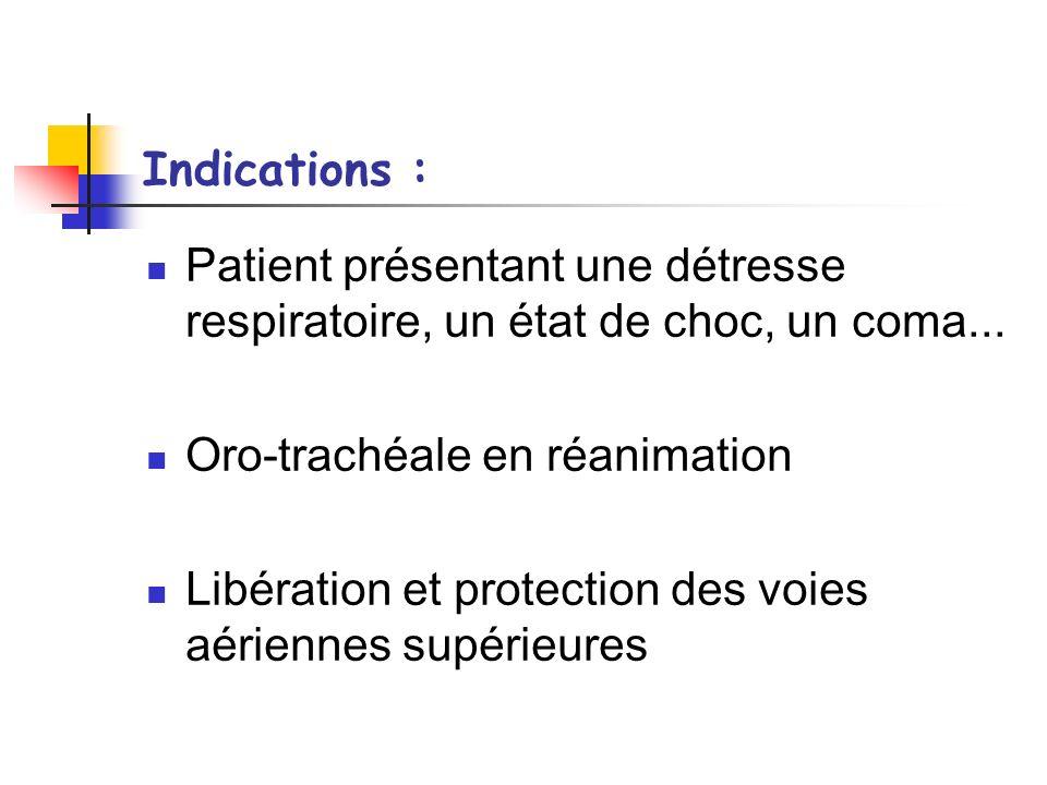 Indications : Patient présentant une détresse respiratoire, un état de choc, un coma... Oro-trachéale en réanimation.