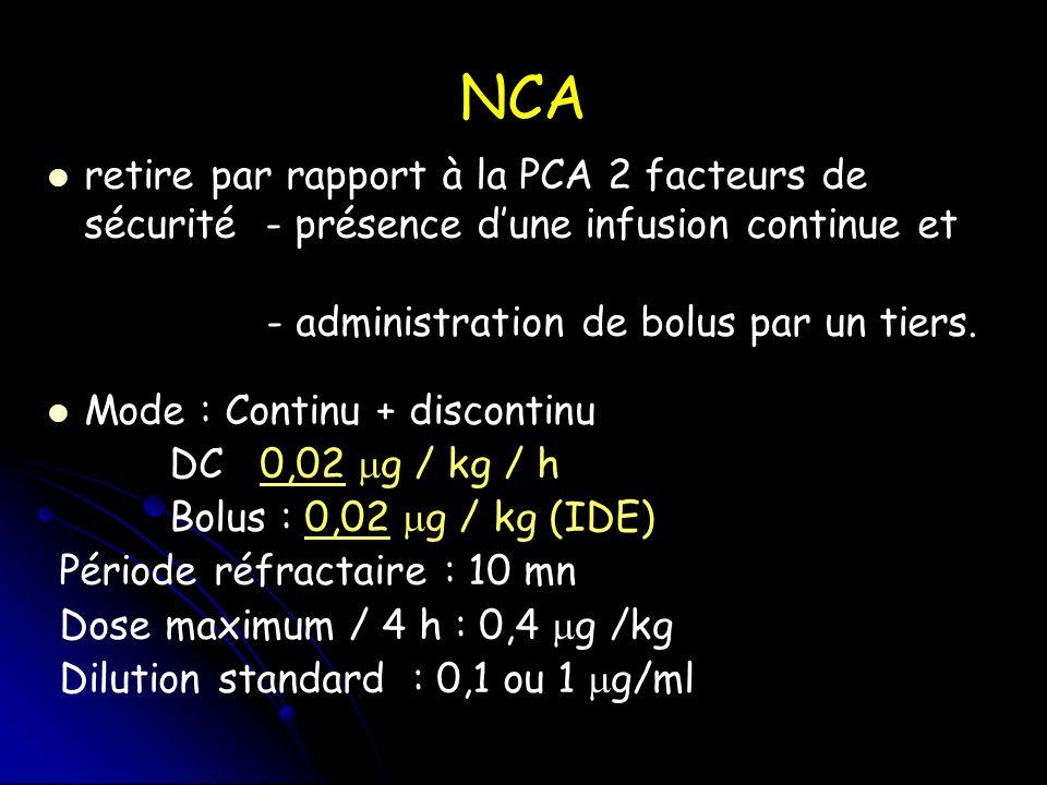NCA retire par rapport à la PCA 2 facteurs de sécurité - présence d'une infusion continue et. - administration de bolus par un tiers.