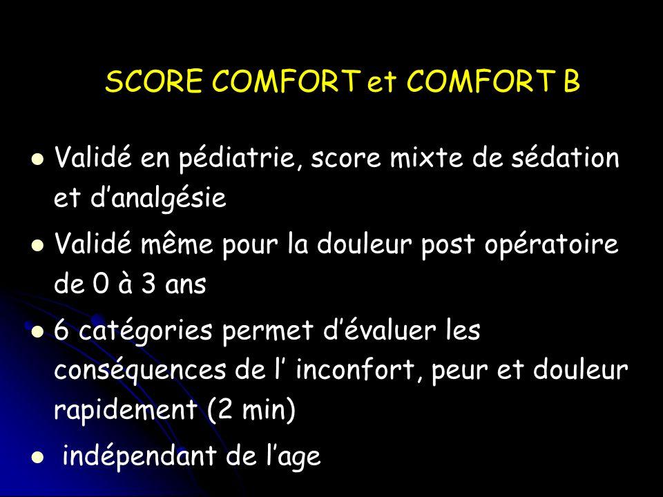 SCORE COMFORT et COMFORT B