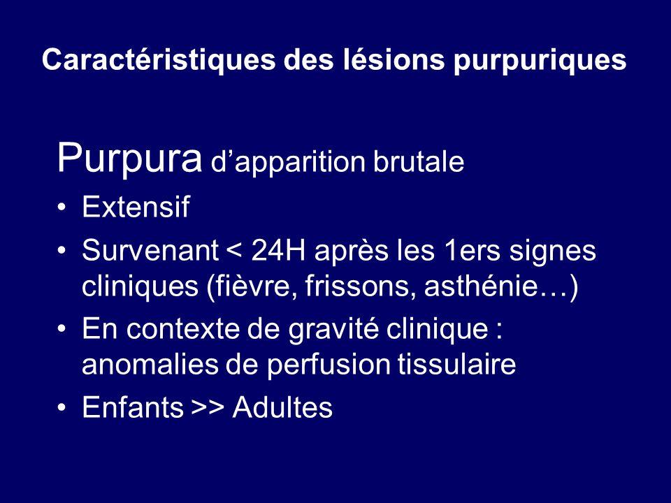 Caractéristiques des lésions purpuriques