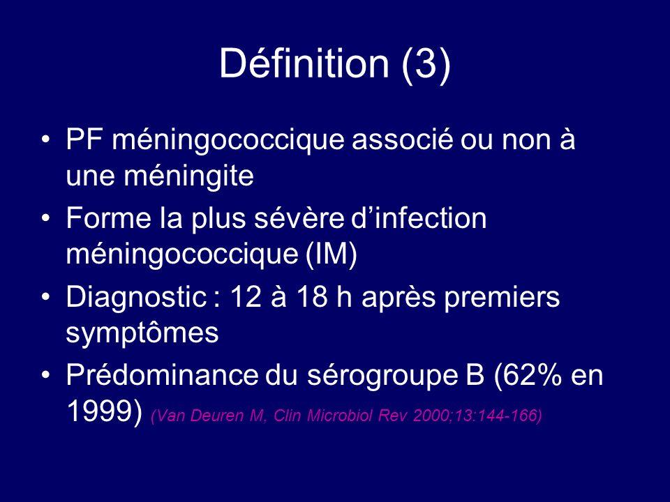 Définition (3) PF méningococcique associé ou non à une méningite