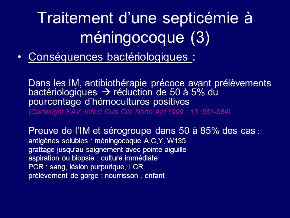Traitement d'une septicémie à méningocoque (3)