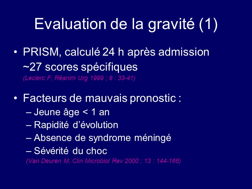 Evaluation de la gravité (1)