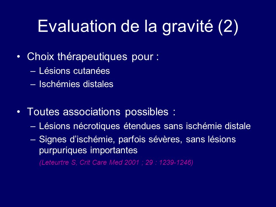 Evaluation de la gravité (2)
