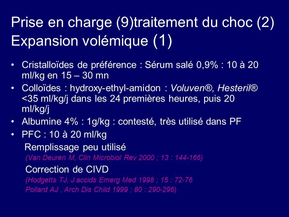 Prise en charge (9)traitement du choc (2) Expansion volémique (1)