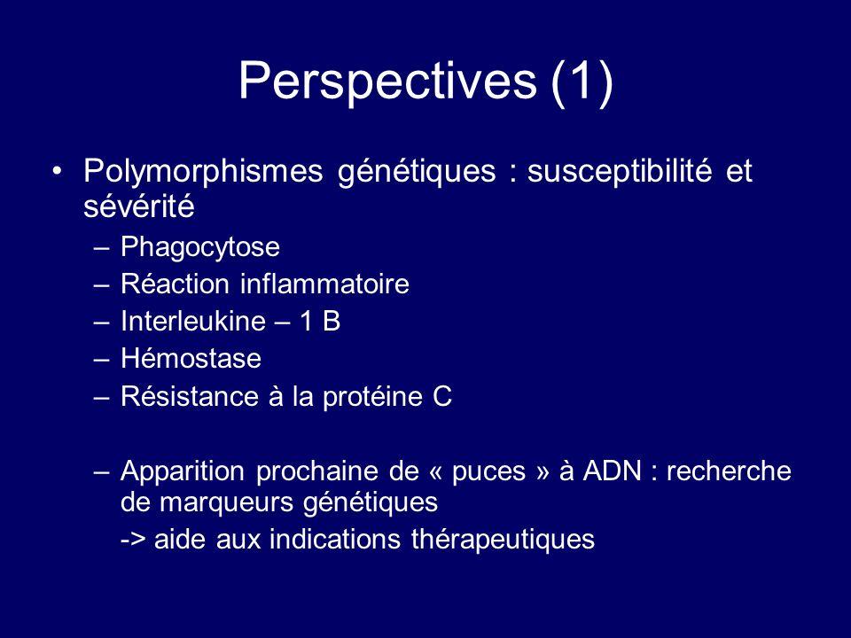 Perspectives (1) Polymorphismes génétiques : susceptibilité et sévérité. Phagocytose. Réaction inflammatoire.