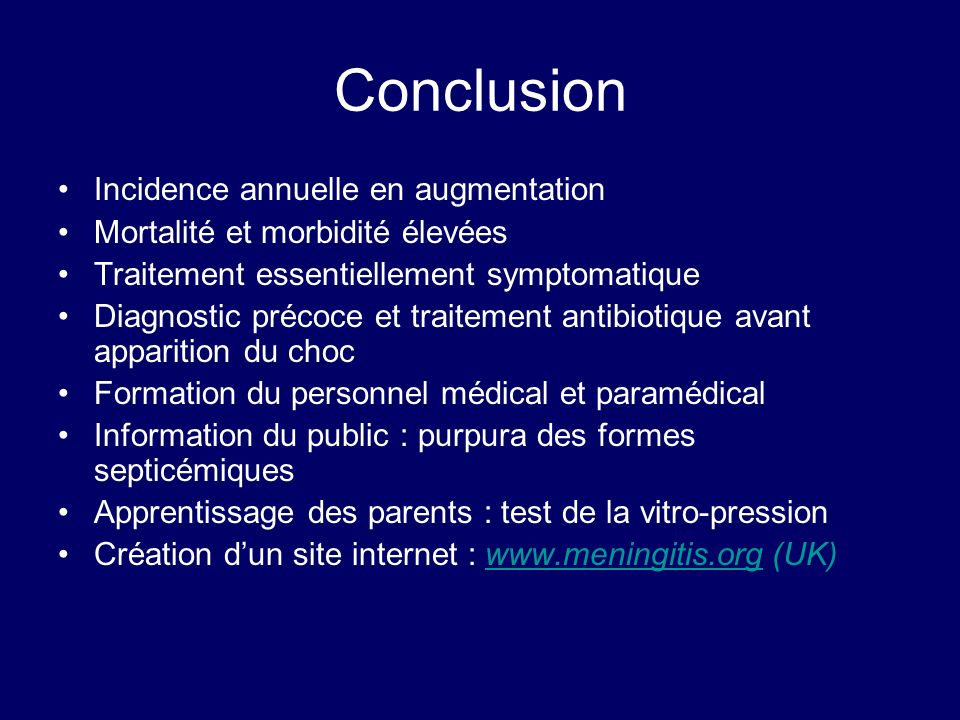 Conclusion Incidence annuelle en augmentation