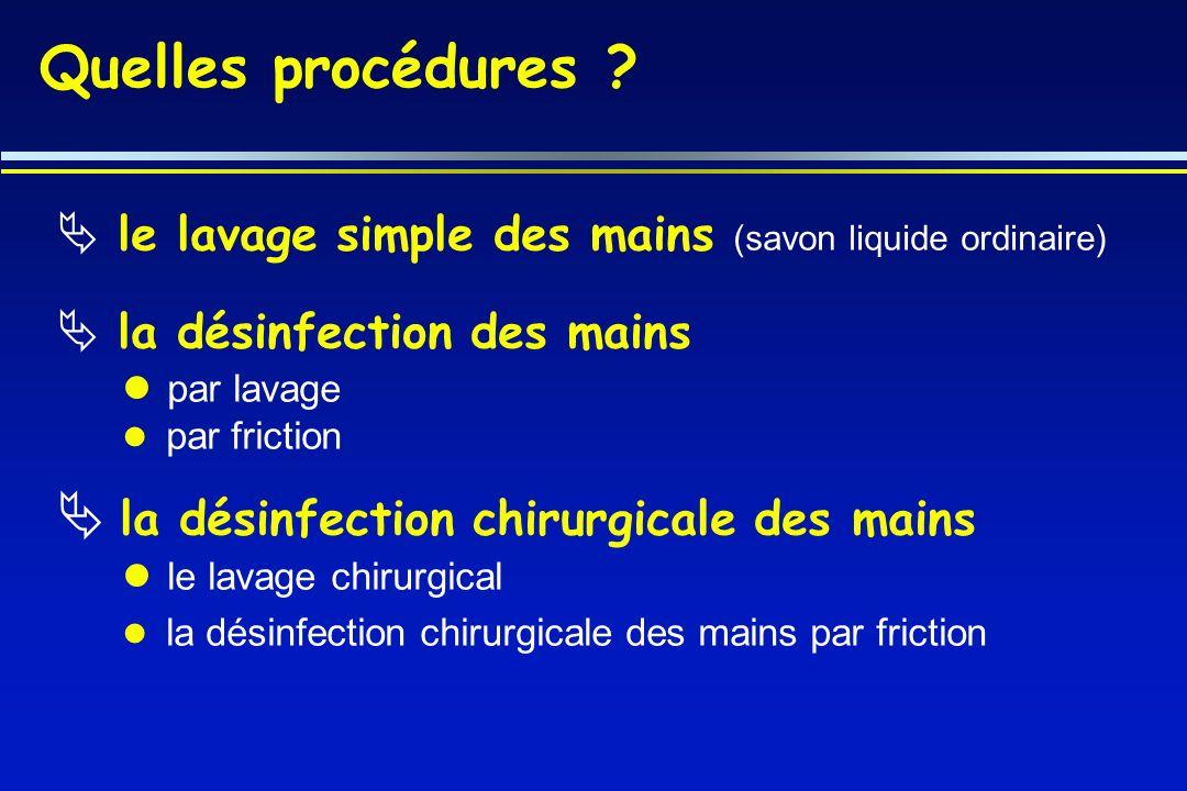 Quelles procédures la désinfection chirurgicale des mains par lavage
