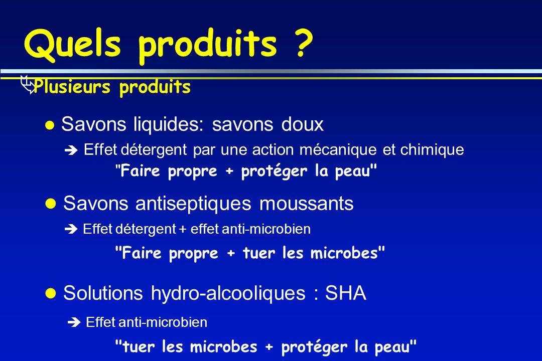 Quels produits Savons antiseptiques moussants