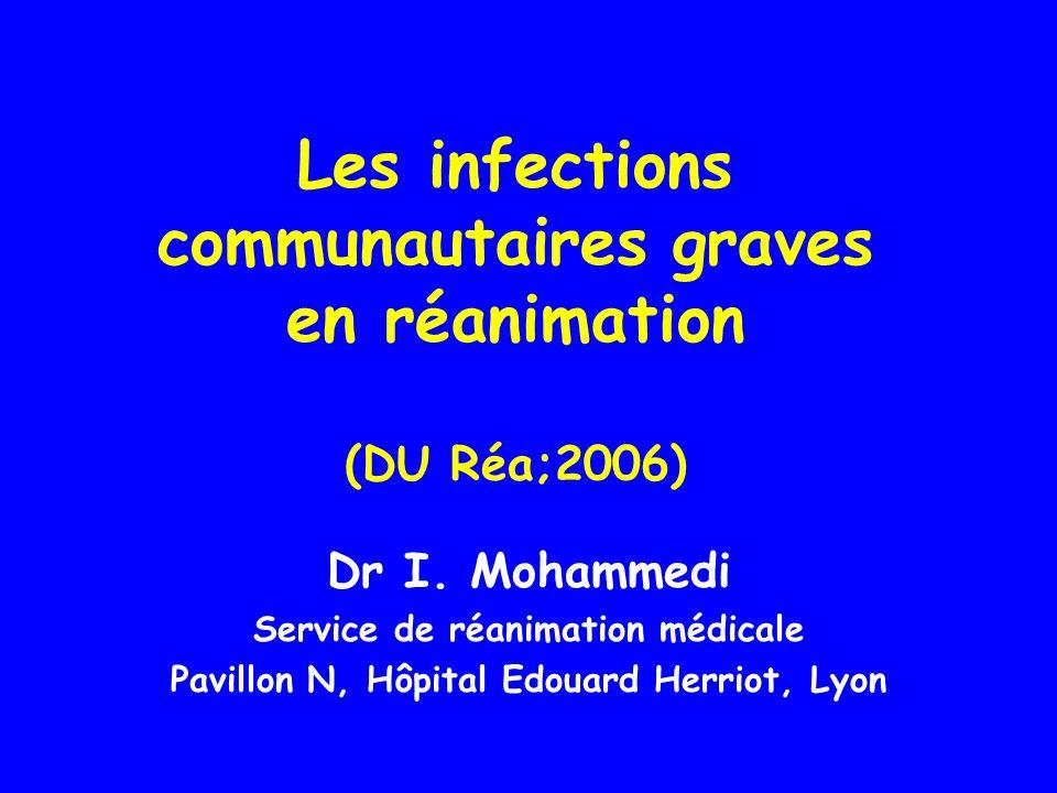 Les infections communautaires graves en réanimation (DU Réa;2006)
