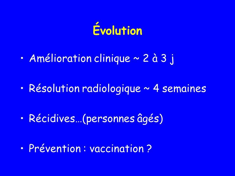 Évolution Amélioration clinique ~ 2 à 3 j