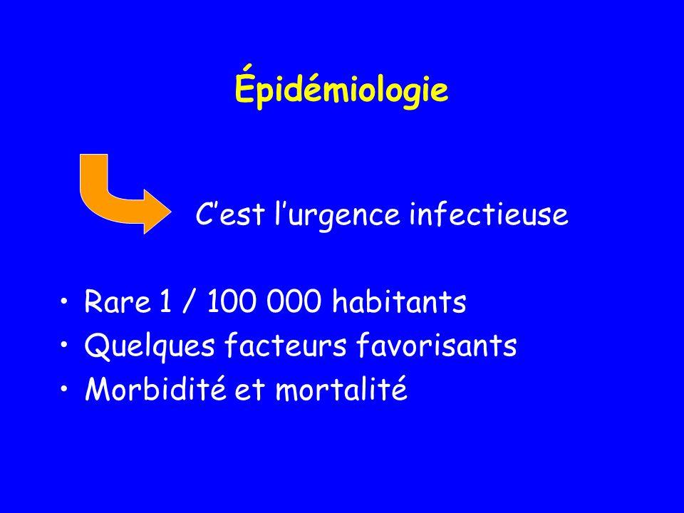 Épidémiologie C'est l'urgence infectieuse Rare 1 / 100 000 habitants