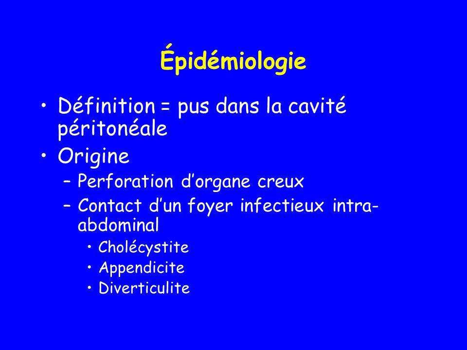 Épidémiologie Définition = pus dans la cavité péritonéale Origine